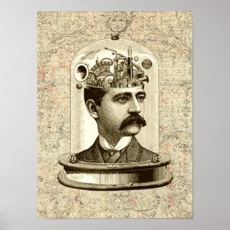 Victorian steampunk clockwork brain mechanical print