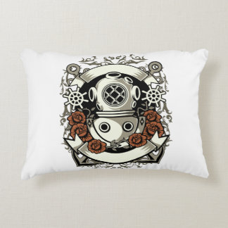 Victorian Steampunk Deep Sea Diver Red Roses Decorative Pillow