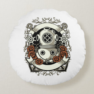 Victorian Steampunk Deep Sea Diver Red Roses Round Pillow