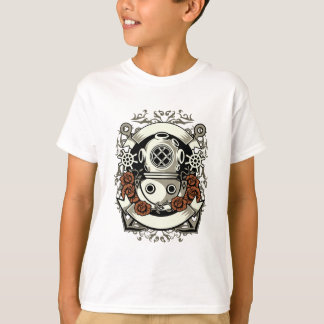 Victorian Steampunk Deep Sea Diver Red Roses T-Shirt