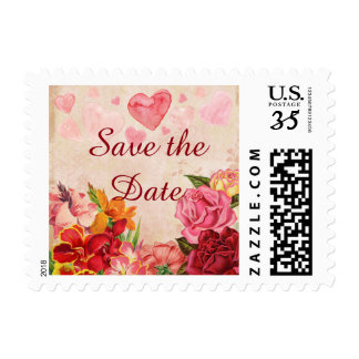 Victorian Steampunk Flowers Hearts Save the Date Postage