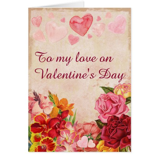 Victorian Steampunk Flowers Hearts Valentine's Day Card