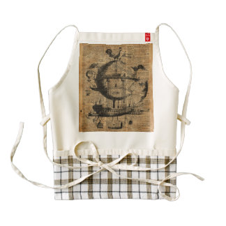 Victorian Steampunk Flying Machine Zazzle HEART Apron