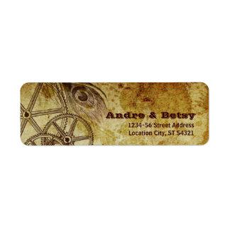 Victorian Steampunk (Gears & Feather) Address Label