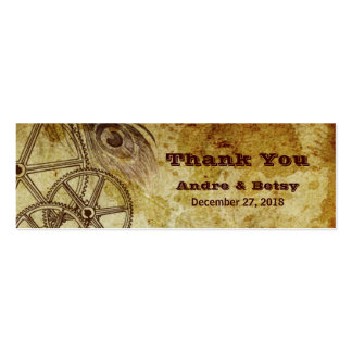 Victorian Steampunk (Gears & Feather) Favor Business Card Template