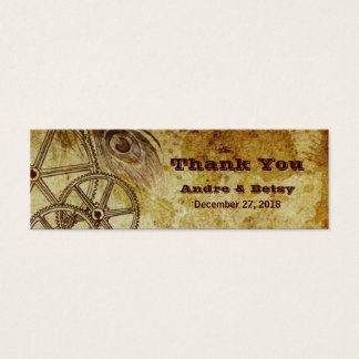 Victorian Steampunk (Gears & Feather) Favor Mini Business Card