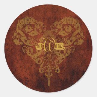 Victorian Steampunk Gears Heart Monogram Classic Round Sticker