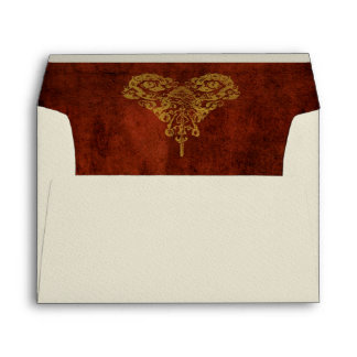 Victorian Steampunk Gears Heart Wedding Envelope