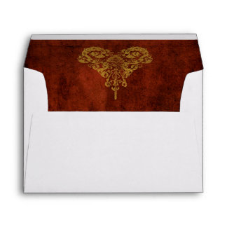 Victorian Steampunk Gears Heart Wedding Envelope