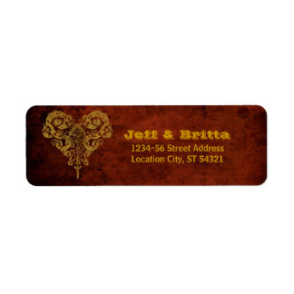 Victorian Steampunk Gears Heart Wedding Label
