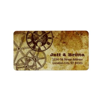 Victorian Steampunk (Gears) Wedding Address Personalized Address Label