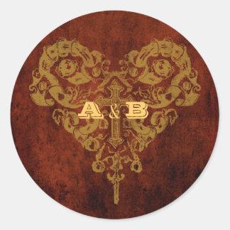 Victorian Steampunk (Heart & Cross) Favor Seal Classic Round Sticker