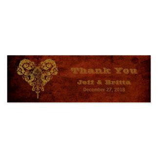 Victorian Steampunk (Heart) Wedding Favor Tags Mini Business Card