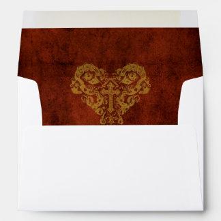 Victorian Steampunk Heart with Cross Wedding Envelope
