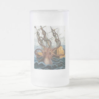 Victorian Steampunk Kraken Octopus Sea Creature Frosted Glass Beer Mug