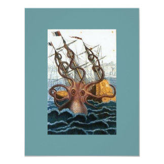 Victorian Steampunk Kraken Octopus Sea Creature 4.25x5.5 Paper Invitation Card