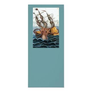 Victorian Steampunk Kraken Octopus Sea Creature 4x9.25 Paper Invitation Card