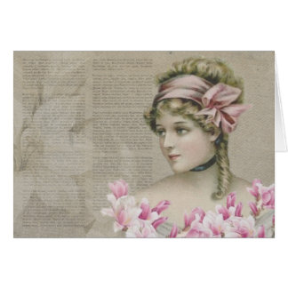 Victorian Steampunk Lady Pink Newspaper Note Card