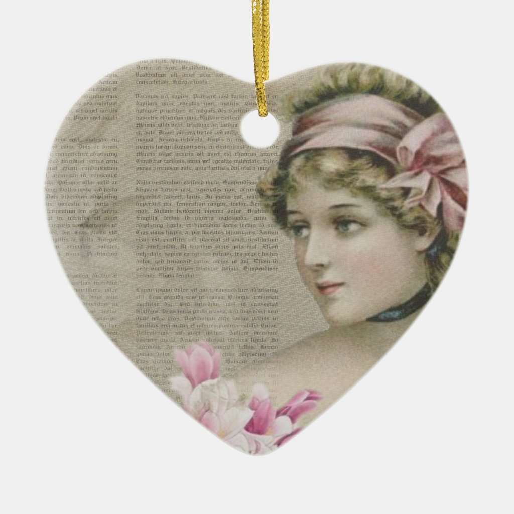 Victorian Steampunk Lady Pink Newspaper Ornament