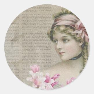Victorian Steampunk Lady Pink Newspaper Sticker