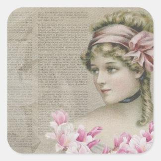 Victorian Steampunk Lady Pink Newspaper Stickers