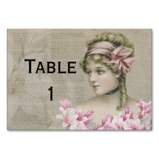 Victorian Steampunk Lady Pink Newspaper Tablecard Card