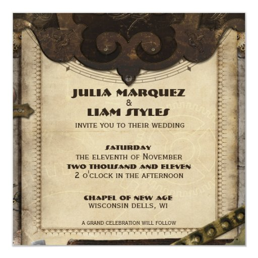 steampunk wedding invitations steampunk leather wedding invitation zazzle 7696