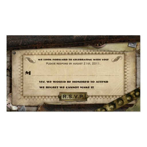 Victorian Steampunk Leather Wedding RSVP Cards Business Card