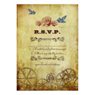 Victorian Steampunk que casa la tarjeta de RSVP Plantillas De Tarjetas Personales