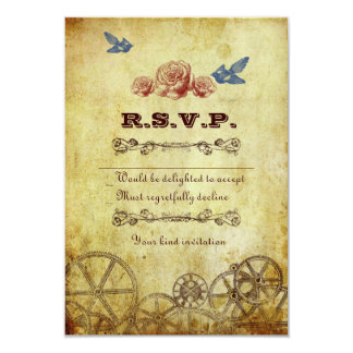 Victorian Steampunk RSVP Card w/ envelopes Personalized Invitations