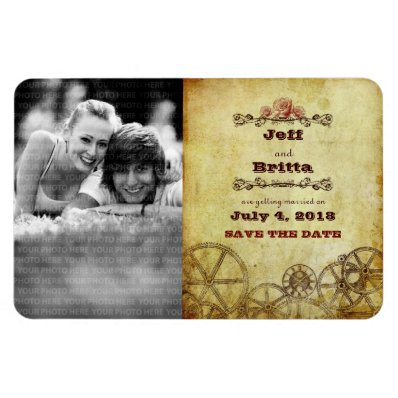 Victorian Steampunk Save the Date Photo Rectangular Magnet