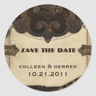 Victorian Steampunk Save the Date Stickers