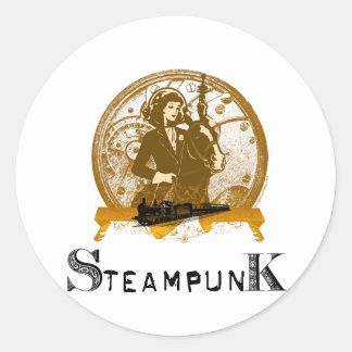 Victorian steampunk space gal classic round sticker