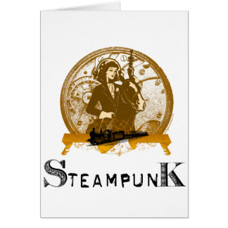 Victorian steampunk space gal greeting cards