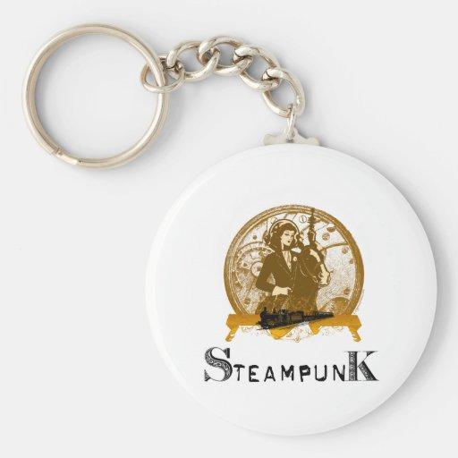 Victorian steampunk space gal key chain