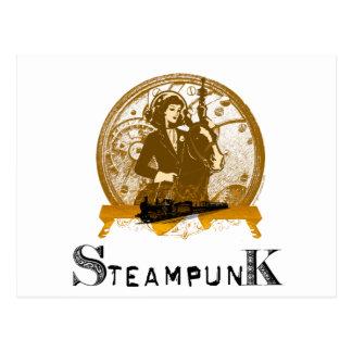 Victorian steampunk space gal post card