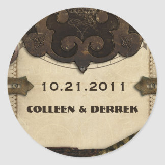 Victorian Steampunk Wedding Announcement Stickers