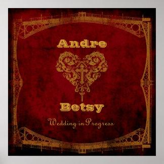 Victorian Steampunk Wedding-in-Progress Sign Poster