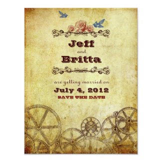 Victorian Steampunk Wedding Save the Date Personalized Invitations
