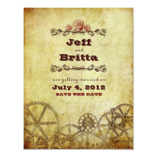 Victorian Steampunk Wedding Save the Date v.2 Card