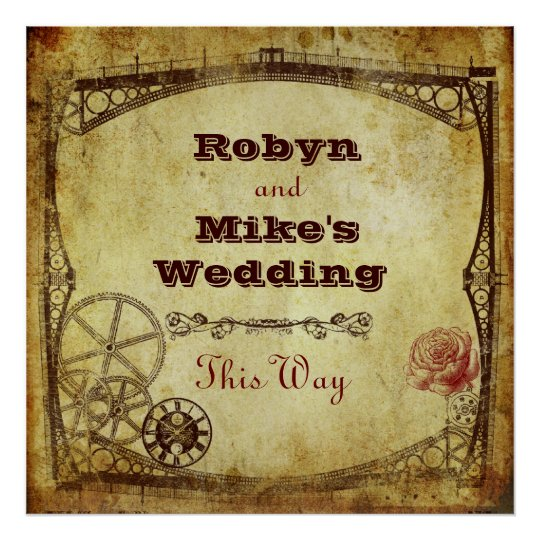 Victorian Steampunk Wedding: This Way Sign