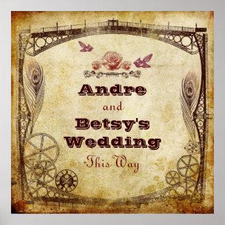 """Victorian Steampunk Wedding: """"This Way"""" Sign"""
