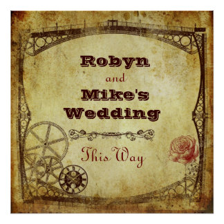 Victorian Steampunk Wedding: This Way Sign Poster