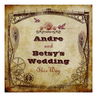 "Victorian Steampunk Wedding: ""This Way"" Sign Poster"