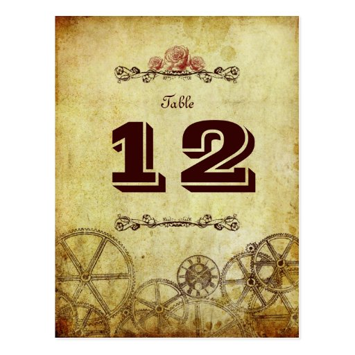 Victorian Steampunk Wedding v.2 Table Number Postcard