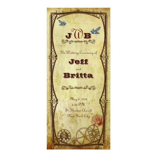 Victorian Steampunk with Birds Ceremony Program Personalized Rack Card