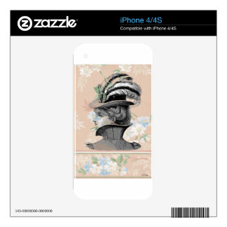 Victorian Steampunk Woman Feather Hat Peach Flower iPhone 4 Decals