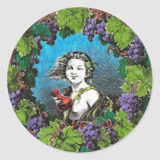 Victorian style boy in grape wreath classic round sticker