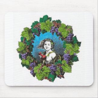 Victorian style boy in grape wreath mousepad