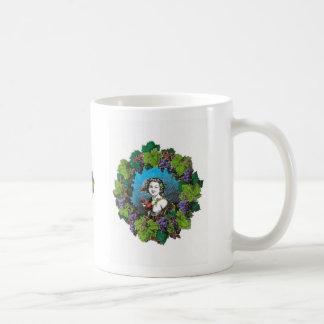 Victorian style boy in grape wreath classic white coffee mug